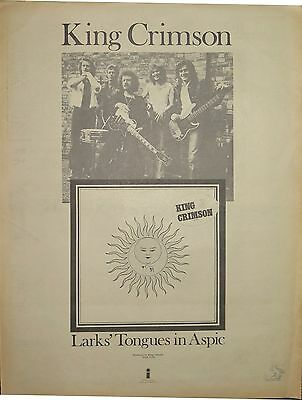 "King Crimson ""Larks' Tongues in Aspic"" full-page ad UK 1973 + 2 bonus ads"