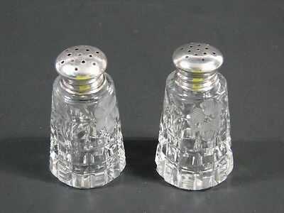 Vintage Crystal Salt & Pepper Shakers - Silver