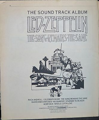 "Led Zeppelin ""The Song Remains the Same"" soundtrack full-page ad US 1976 ~ Bonus"