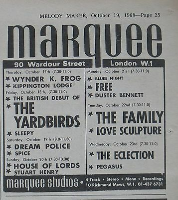 Led Zeppelin first London gig @ Marquee as The Yardbirds October 18 1968 UK ad