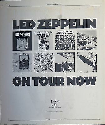 Led Zeppelin US tour 1977 full-page ad + Bonus x 4