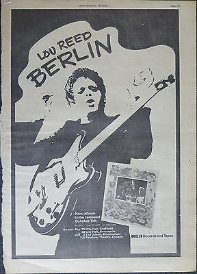 """Lou Reed """"Berlin"""" UK tour full-page ad 1973 + album review"""