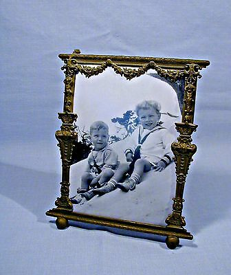 ORNATE K & CO ANTIQUE BRASS PHOTO FRAME patented in 1909
