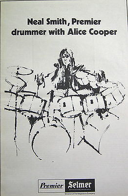 Neal Smith (Alice Cooper) Premier (drums) full-page ad 1973