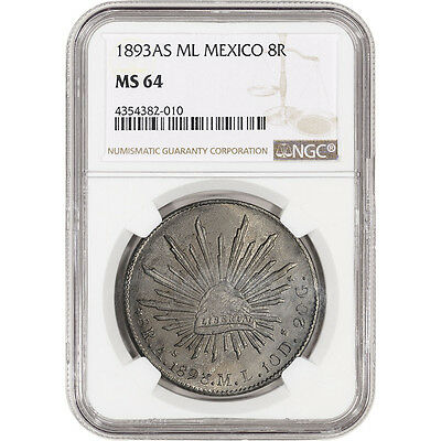 1893 As ML Mexico Silver 8 Reales - NGC MS64