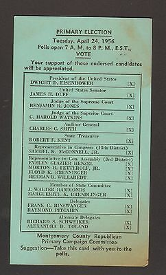 1956 Primary Election Postcard Republican Committee Dwight D Eisenhower