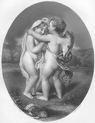 CUTE LITTLE TODDLER BOY GIRL CUPID & PSYCHE ~ Old 1863 Art Print Engraving RARE!