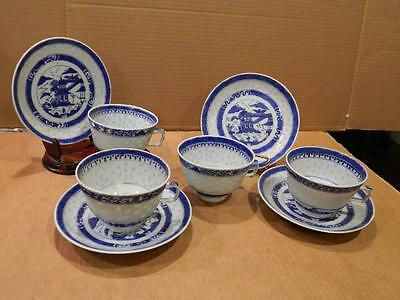 4 See Through Porcelain Hand Painted Cups & Saucers Asian Blue/White Antique