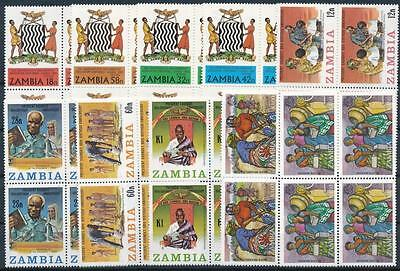 [G106018] Zambia Good lot of 10 blocks of 4 stamps Very Fine MNH