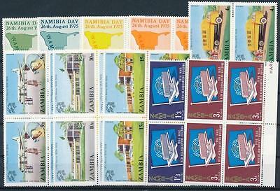 [G106021] Zambia Good lot of 10 blocks of 4 stamps Very Fine MNH