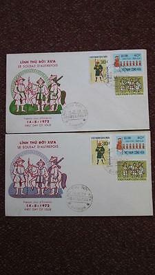 South Vietnam FDC Ancient Soldier 1972, Lot of 2