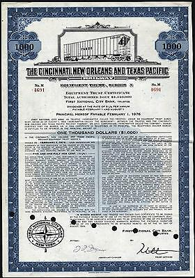 $1000 Cincinnati, New Orleans And Texas Pacific Railway Bond, Equipment Trust