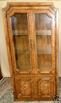 WEIMAN CABINET BURLED WALNUT Faux Bamboo,Mid Century,Lighted VINTAGE 1of2