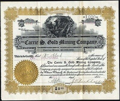 Carrie S. Gold Mining Co, Cripple Creek, Co, 1900 Uncancelled Stock Certificate