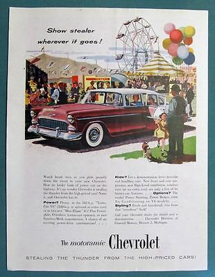 Original 1955 Chevrolet Ad featuring the Chevy Bel Air 4 Door Sedan SHOW STEALER