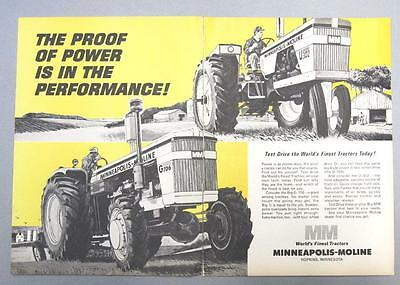 Orig 1964 Minneapolis Moline Tractor Ad 2 pages U302  G706 Models PROOF OF POWER