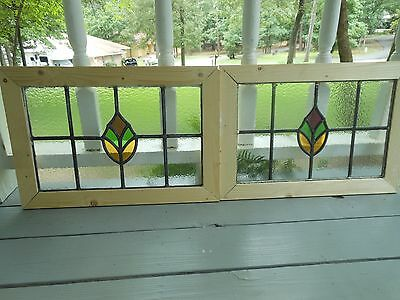 MA10-291 Lovely Older Leaded Stain Glass Window F/England Reframed 2 Available