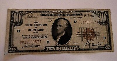 1929 Federal Reserve Bank Of Cleveland $10 National Currency Note