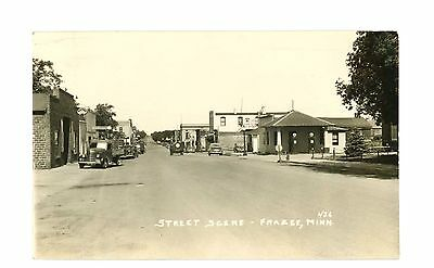 RPPC Street Scene with Gas Pumps & Fitger's Beer Sign Frazee, Minnesota pm 1948