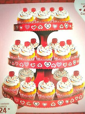 """VALENTINE 3-TIER CUPCAKE STAND ~ 12"""" x 10.75"""" ~ Holds 24 Cupcakes"""