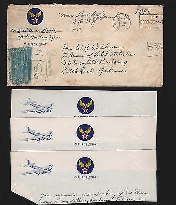 OPC 1942 McChord Field 43rd AB SQ Soldier Free Mail 3 Letterheads