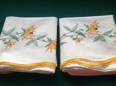 2 Vintage White Cotton Pillowcase W/ Embroidery Tatted Trim Exotic Floral #4