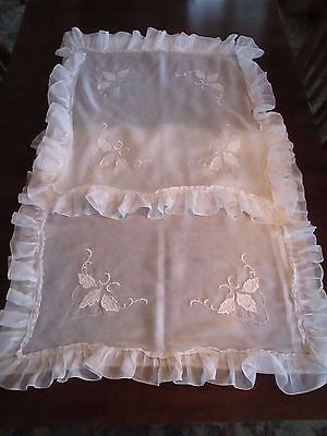 White Organdy Pillow Shams w/Embroidered Leaves, Ruffles, Vintage, New Unused