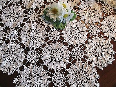 "White Hand Crochet Tablecloth 68"" x 96"" Made in Maine, Gorgeous Pattern"