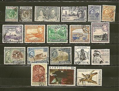 Cyprus 19 Old Used Stamps