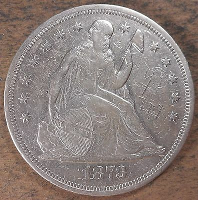 1873 Seated Liberty Silver Dollar! Extremely Fine condition! Rare coin! sd289