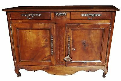 1700s FRENCH LOUIS XV CARVED WALNUT BUFFET SIDEBOARD CABINET ENTERTAINMENT CTR