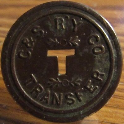 Very Old C.&S. Ry. Co. Baltimore, MD Transit Trolley Token - Maryland