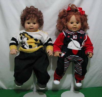 "Lot Of 2 Brigitte Leman Max Zapf Unknown Boy And Girl Goldkind 1987 23"" Tall"