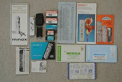 Vintage Minox B Spy Camera Germany Bundle w/ Flash, 5 Rolls Color Film & Manuals