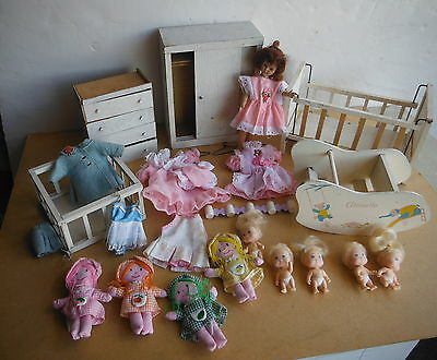 Vintage DOLLHOUSE FURNITURE - GINNETTE + Doll + Clothing