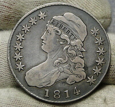 1814 Capped Bust Half Dollar 50 Cents - Nice Coin, Free Shipping (6204)