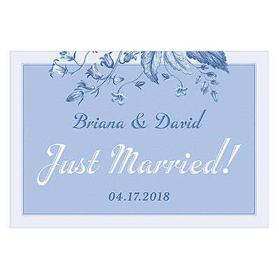 Vintage Romance Just Married Poster Personalized Wedding Venue Decoration