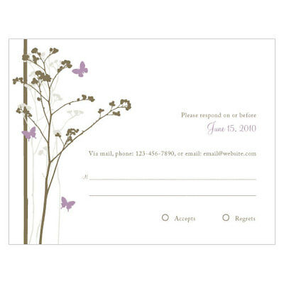 Wedding Response Cards.48 Romantic Butterfly Printed Wedding Response Cards