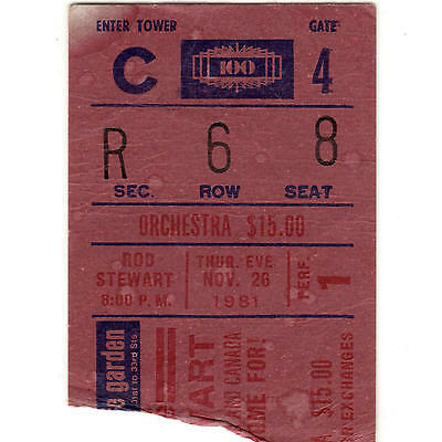 ROD STEWART Concert Ticket Stub MADISON SQUARE GARDEN 11/26/81 THE FACES Rare