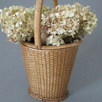 "Antique VICTORIAN 2-Compartment 15"" Woven WICKER Gathering Basket Vase * SHAKER"
