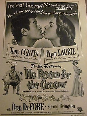 No Room For the Groom, Tony Curtis Piper Laurie Full Page Vintage Promotional Ad