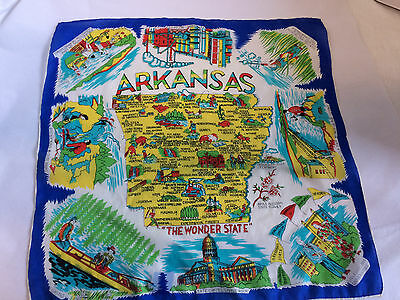 Vintage Silk Rayon Arkansas Graphic Map Souvenir Scarf-Hand Rolled Japan Bright