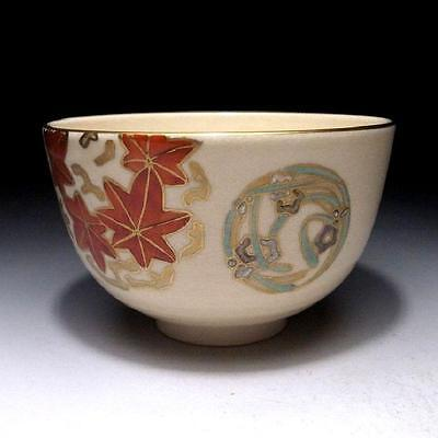 CJ8: Japanese Hand-painted Tea Bowl of Kyo ware by Famous potter, Zuiho Nishio