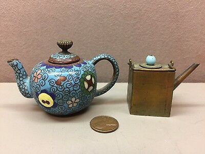Lot of 2 Chinese Miniature Brass and Enamel  Teapots China