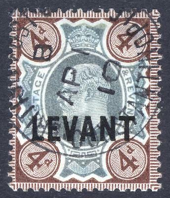 British Levant-Turkey 1905 4d Green & Choc Brown SG L7a Scott 21 VFU Cat£75($96)