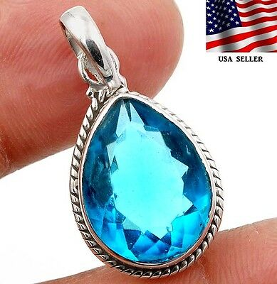 8CT Flawless Blue Topaz 925 Solid Genuine Sterling Silver Pendant Jewelry