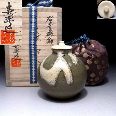 BN1 Japanese Celadon Tea Caddy with high-class lid by Famous potter, Kiraku Kizu