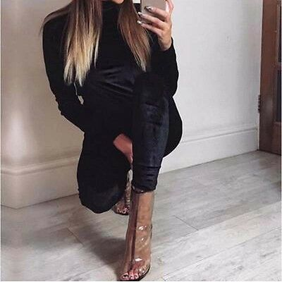 New Women Casual Long Sleeve Bodycon Romper Jumpsuit Club Bodysuit Long Pants L