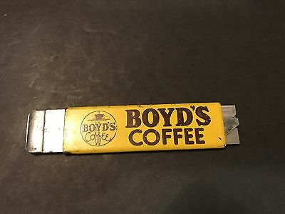 Vintage Boyds Coffee Box Cutter Advertising Pacific Handy Cutters Box Knife