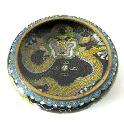 """Antique Chinese Cloisonne Dragon Bowl / 4 Character Signature Tongzi Mark 8"""" d."""